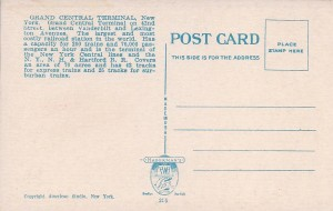 Grand Central Back of Postcard