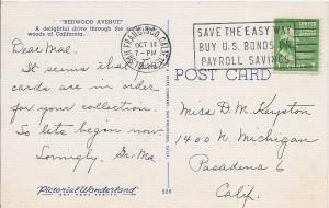 Back of vintage Redwoods postcard